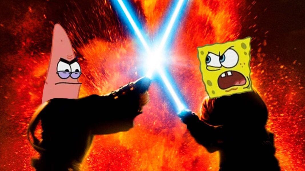 SpongeBob Stars Dub Iconic Movie Scenes From The King's Return To Sith Revenge